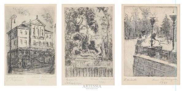 Trzy grafiki o tematyce warszawskiej: Instytut im. Fr. Chopina, Pomnik Sobieskiego, Łazienki