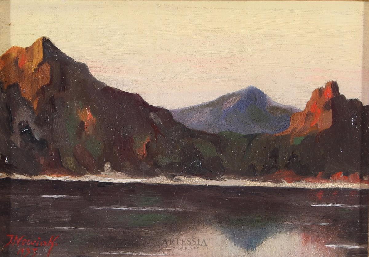 Pejzaż górski z jeziorem