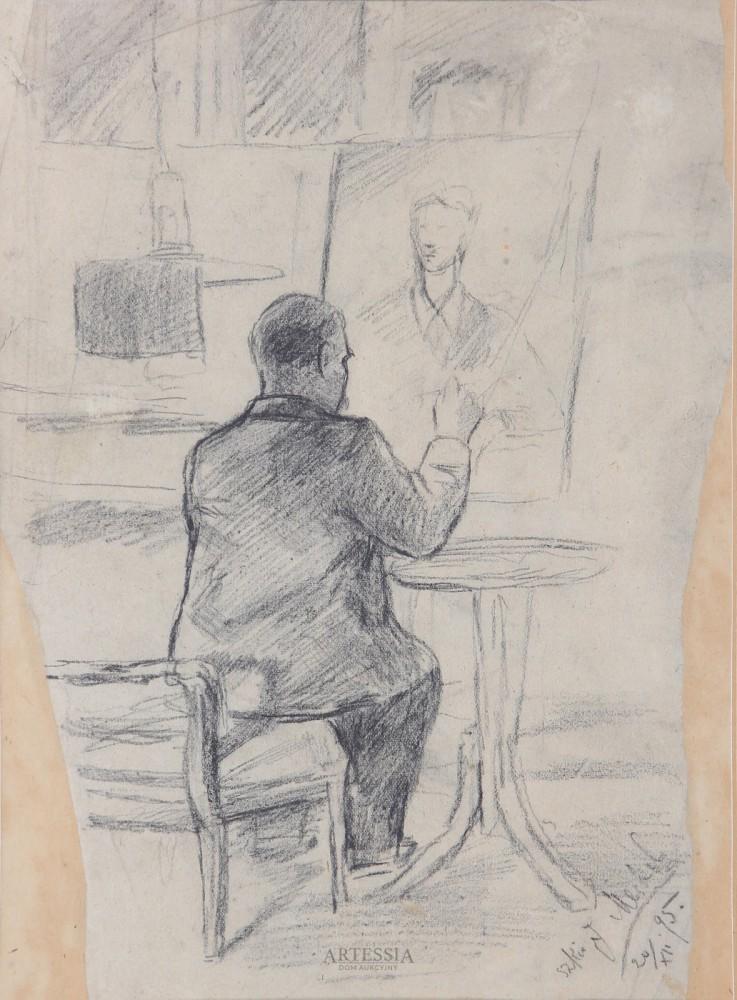 Portret Józefa Balukiewicza przy sztaludze