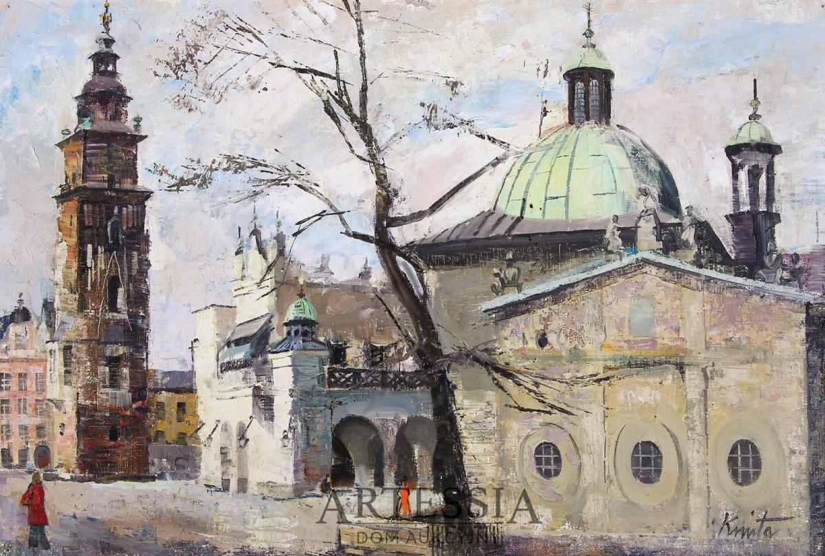 Widok krakowskiego rynku z kościołem św. Stanisława