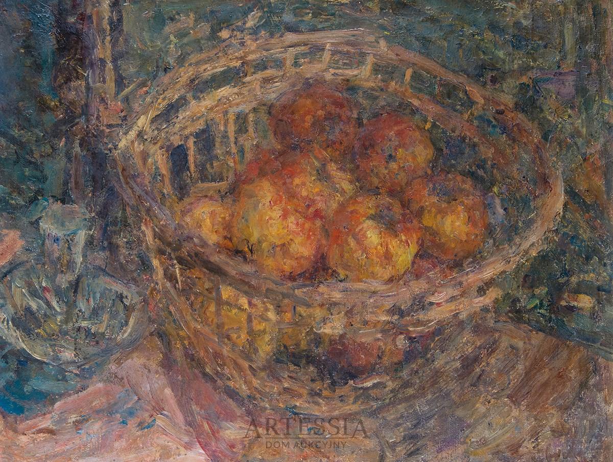 Martwa natura z jabłkami w koszyku