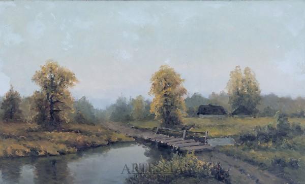 Pejzaż z rzeką i mostkiem