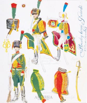 Strzelcy konni Gwardii - widoki mundurów i broni