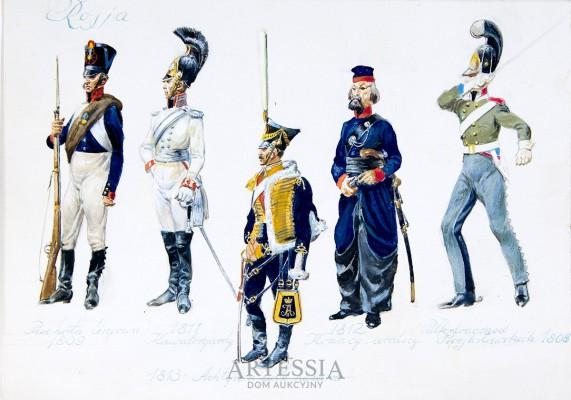 Przykłady mundurów rosyjskich wojsk z pocz. XIX w.